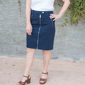 Tommy Hilfiger Blue Pencil Front Zip Skirt